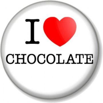 I Love / Heart CHOCOLATE Pinback Button Badge favourite food sweet candy fun